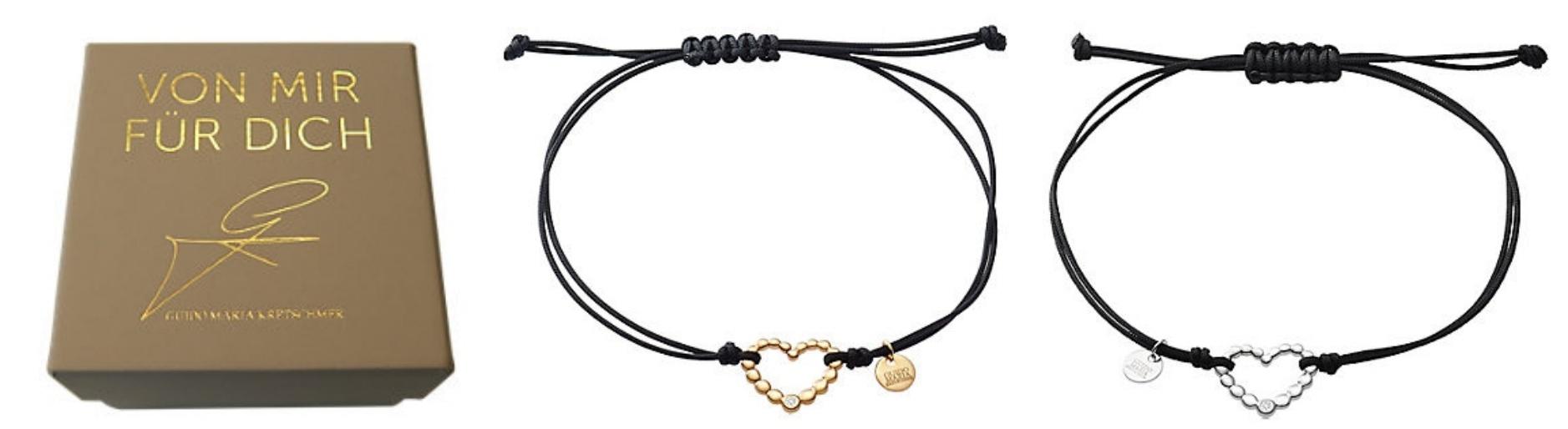 Guido Maria Kretschmer - Armband mit Herzanhänger in gelbgold und weißgold für je 99,90 Euro